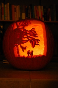 A pumpkin carving of the cover of Marcelo in the Real World!! From www.yahighway.com