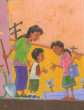 Meeting kids at refuge